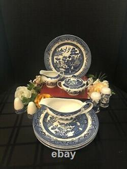 Blue Willow Johnson Brothers / Churchill England Dishes Plates, Gravy, Serving