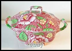 Ca 1909 Johnson Bros English Pink Countrside Salad Plates (6) & Sugar Bowl