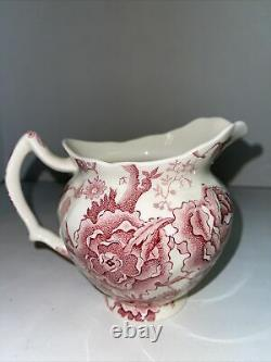 ENGLISH CHIPPENDALE 24 OZ PITCHER Red Pink Rose Flower Johnson Bros ENGLAND. 26