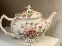 Early Johnson Bros ROSE CHINTZ Made in England TEAPOT Immaculate Pink Green Mark
