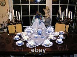 Edles Kaffeeservice Johnson Bros England Old Britain Castles blau top 12 Pers