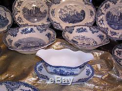 Edles Speiseservice Johnson Bros Old Britain Castles blau