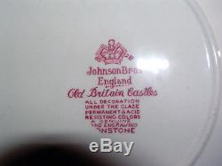 Edles Speiseservice Johnson Bros Old Britain Castles rot mit Suppentassen