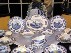 Edles Speiseservice von Johnson Bros England Old Britain Castles blau top