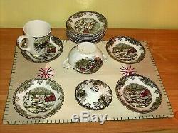 England'Friendly Village' Cups Saucers Creamer 28 Pieces VINTAGE JOHNSON BROS