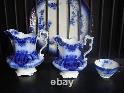 FLORIDA JOHNSON BROS. FLOW BLUE 7 PITCHER c. 1900
