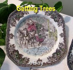 Full Set 6 Johnson Brothers Friendly Village CHRISTMAS Square Accent PlatesMINT