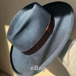 Goorin Bros Blue Wolf Johnson Medium Fedora Hat Wide Stiff Brim with Pencil Curl
