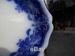 Gorgeous Antique Flow Blue Platter / Oregon By Johnson Bros. / 16