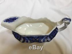 Great Antique Johnson Brothers FLOW BLUE Gravy Boat with Gold, Florida Pattern