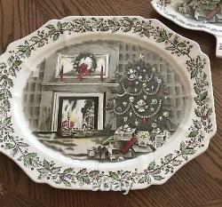 HTF Johnson Brothers Merry Christmas Oval Serving Platter 17 Vintage England