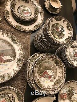 HUGE SET VINTAGE Johnson Brothers Friendly Village Dishes China Serving Pieces