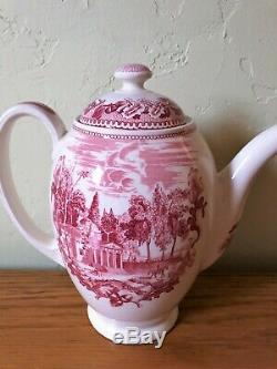 Historic America COFFEE POT Johnson Bros Monticello Pink