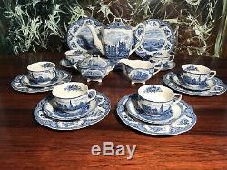 JOHNSON BROS England OLD BRITAIN CASTLES blau 21 teiliges Kafffeeservice