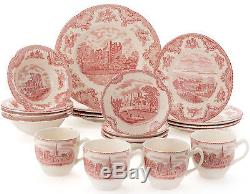 JOHNSON BROS OLD BRITAIN CASTLES PINK 20 PIECE DINNER SET NEWithBOXED