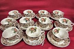 JOHNSON BROS Windsor Ware Harvest Fruit tea Cup Saucer 11 Sets MINT