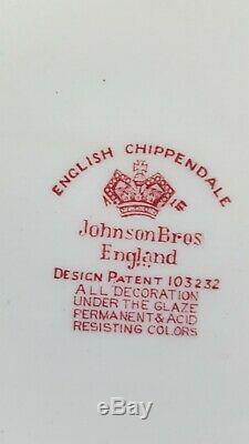 JOHNSON BROTHERS China ENGLISH CHIPPENDALE Red/Pink 91-piece SET SERVICE for 12