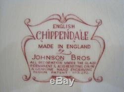 JOHNSON BROTHERS ENGLISH CHIPPENDALE Deep RED SOUP TUREEN & LID