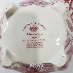 JOHNSON BROTHERS English Chippendale Red Pink Teapot & Lid 4 Cup