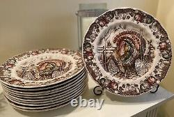 JOHNSON BROTHERS Made In England His Majesty Turkey Thanksgiving Plates (11)