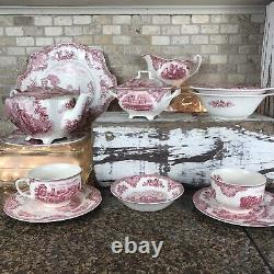 JOHNSON BROTHERS Pink Old Britain Castle Breakfast Setting For Two Vintage Set