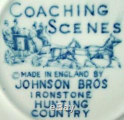 JOHNSON BROTHERS china COACHING SCENES BLUE pattern 72-piece SET SERVICE for 12