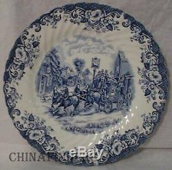 JOHNSON BROTHERS china COACHING SCENES Blue pattern 53pc Set cup/dinner/serving