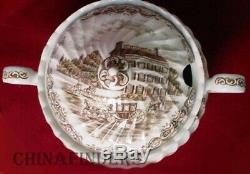 JOHNSON BROTHERS china HERITAGE HALL BROWN Large Round Soup Tureen & Lid