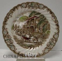 JOHNSON BROTHERS china HERITAGE HALL BROWN pattern 65-Piece SET SERVICE for 12