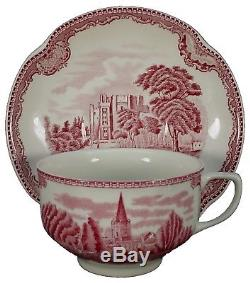 JOHNSON BROTHERS china OLD BRITAIN CASTLES Pink MIE 61-piece SET SERVICE for 8