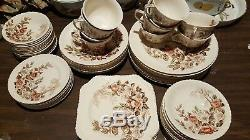 Johnson Bros Apple blossom Brown Multi Soup Bowls China 67 Pieces