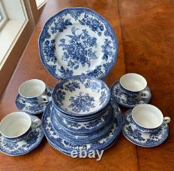 Johnson Bros Blue Asiatic Pheasant 6 Place Settings of 6 Pieces Ea (36 pcs) Engl