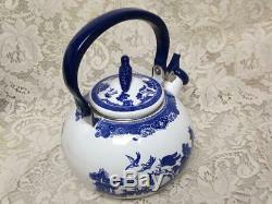 Johnson Bros, Blue Willow Enamelware Tea Kettle 10in W x 8in T