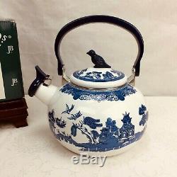Johnson Bros Blue Willow Whistling Tea Kettle Enamelware New Old Stock in Box