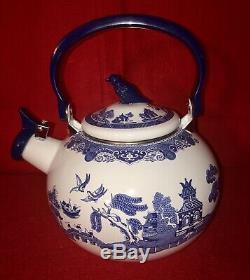 Johnson Bros Blue Willow Whistling Tea Kettle Porcelain Enamel On Steel NIB Rare