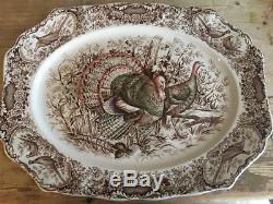 Johnson Bros Brothers Windsor Ware Native American Wild Turkeys Platter 21 x 16