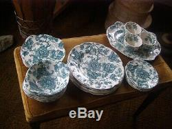 Johnson Bros. China Dinnerware Lot of 24 English Chippendale GREEN RARE COLOR