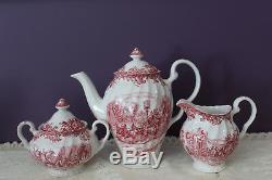 Johnson Bros. Coaching Scenes Red/pink Teapot, Cream And Sugar Set
