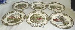 Johnson Bros. England Friendly Village 6 Dinner Plates 10 3/4 Different Scenes