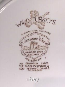 Johnson Bros England Windsor Ware 7 Wild Turkey Dinner Plates- 10 7/8