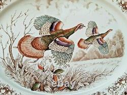 Johnson Bros England Windsor Ware Large Wild Turkeys Serving Plate Platter 20.5