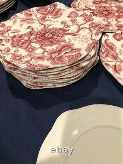 Johnson Bros English Chippendale Red And White Set Of 12 Dessert Plates Ruffled