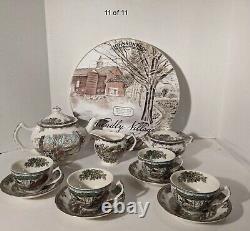 Johnson Bros Friendly Village 13 Pc Tea Set Teapot/Cream Sugar/Cups/Saucers
