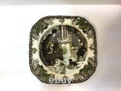 Johnson Bros Friendly Village CHRISTMAS, 6 Square Salad Plates, NEW Never Used