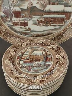 Johnson Bros HISTORIC AMERICA Thanksgiving Frozen Up 12 Dinner Plates & Platter