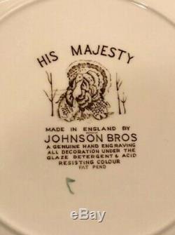 Johnson Bros His Majesty Wild Turkey Set of 12 Square Salad Plates
