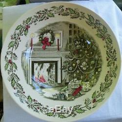 Johnson Bros MERRY CHRISTMAS Pattern Eggnog Bowl with 8 Matching Cups Mugs