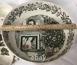 Johnson Bros Merry Christmas Punch Bowl & 12 Cups