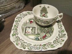 Johnson Bros Merry Christmas Transferware Set Snack Desert Plate & Cup England