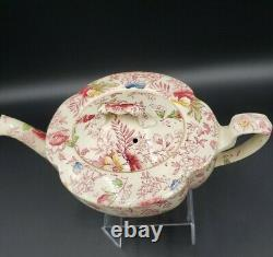 Johnson Bros OLD ENGLISH CHINTZ PINK MULTICOLOR Small Teapot & Lid VERY RARE